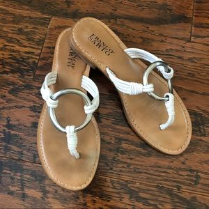 Franco Sarto White Leather Thongs